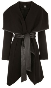 Oasis Faux Leather Trim Belted Drape Coat