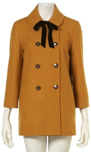 Topshop Mustard Velvet Tie Double Breasted Coat