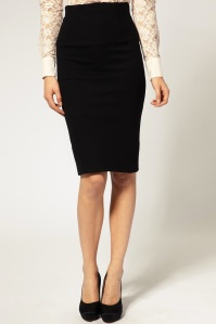 Classic Black Pencil Skirt and Court Shoes