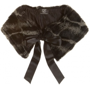 Recycled Grey & Black Animal Print Faux Fur Collar from Rokit