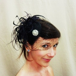 Head Full Of Feathers Vintage Style Birdcage Veil