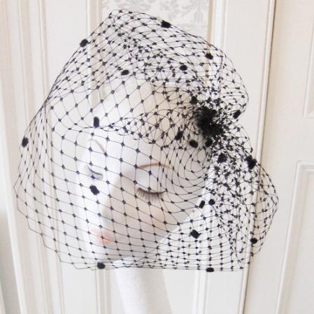 Poofy birdcage veil