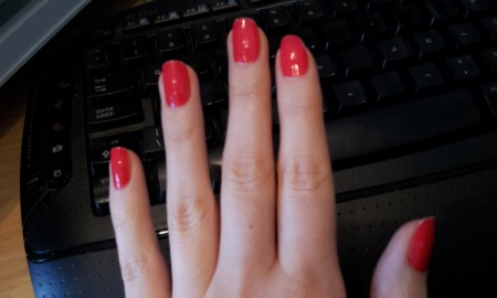 My nails painted in Jelly - Revlon Top Speed Nail Polish