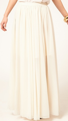ASOS maxi skirt with broderie inserts cream