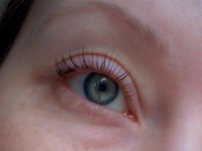 Eyelashes after mascara and curling