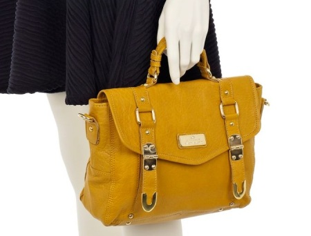River Island Yellow Hinged Leather Satchel