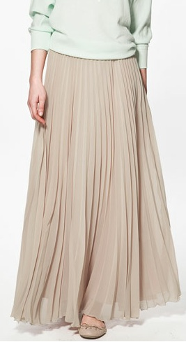 Zara long pleated skirt makeup