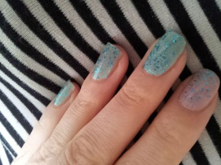 Mint Cream and Aqua Glitter Nails