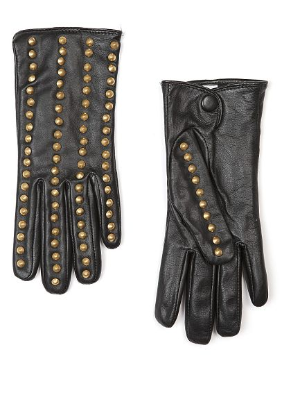 Mango Touch studded leather gloves