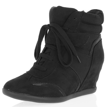 Black hi-top wedge trainers from Dorothy Perkins
